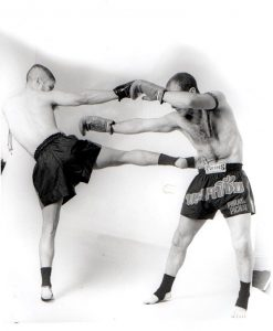 Two Muay Thai boxers sparring together